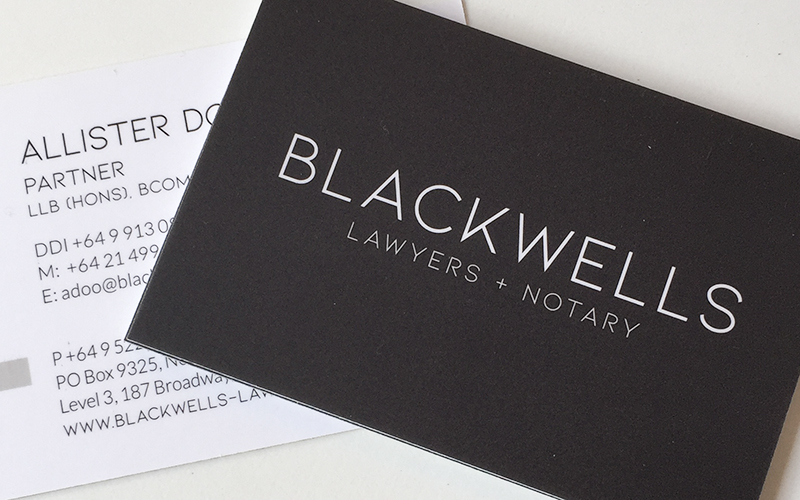 Blackwells Law branding - business cards