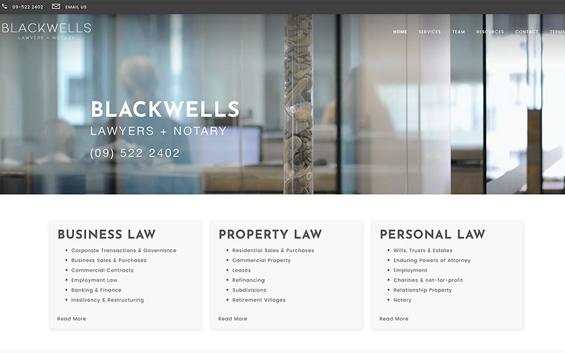 Blackwells Law custom web design Auckland